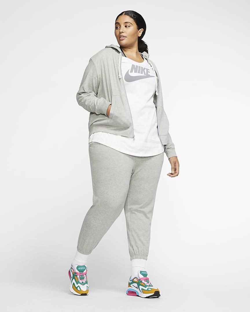 Nike Sportswear Women\'s Full-Zip Hoodie (Plus Size) Dark Grey Heather/Sail