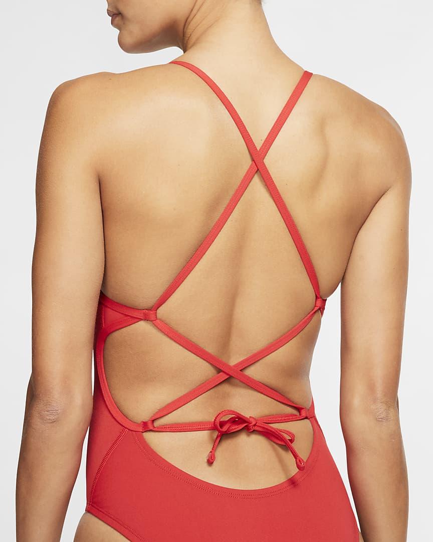 Nike Lace-Up Tie-Back Women\'s 1-Piece Swimsuit University Red