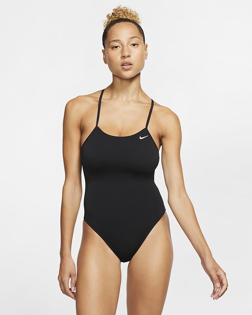 Nike Lace-Up Tie-Back Women\'s 1-Piece Swimsuit Black