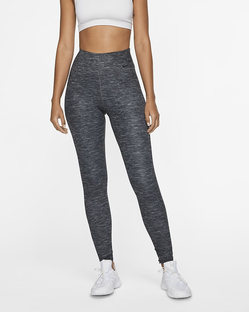 Nike One Luxe Women\'s Heathered Mid-Rise Leggings Black/Clear