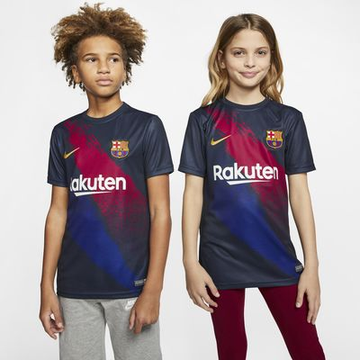 Koszulka piłkarska z krótkim rękawem dla dużych dzieci FC Barcelona