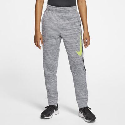 Nike Therma grafisk treningsbukse med avsmalnede ben til store barn (gutt)