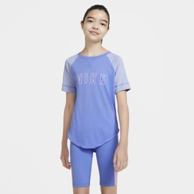 Nike Dri-FIT Trophy Kurzarm-Trainingsoberteil mit Grafik für ältere Kinder (Mädchen)
