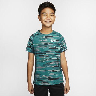 Nike Pro Big Kids' (Boys') Short-Sleeve Printed Training Top