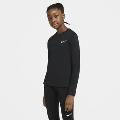 Nike Pro Warm langermet overdel til store barn (jente)