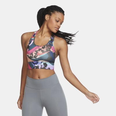 Sujetador deportivo estampado de línea larga con almohadilla de una sola pieza de sujeción media para mujer Nike Swoosh Icon Clash
