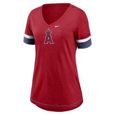 Nike Dri-Blend Mesh Logo Fashion (MLB Los Angeles Angels) Women's V-Neck T-Shirt