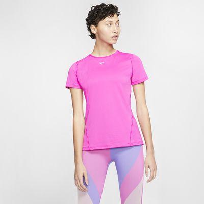 Nike Pro Camiseta de entrenamiento de manga corta con tejido de malla - Mujer