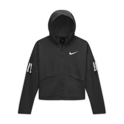 Nike-træningshættetrøje med lynlås til store børn (piger)