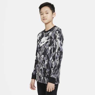Nike Sportswear Big Kids' (Boys') Printed Long-Sleeve T-Shirt