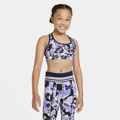 Nike Swoosh Big Kids' (Girls') Printed Reversible Sports Bra