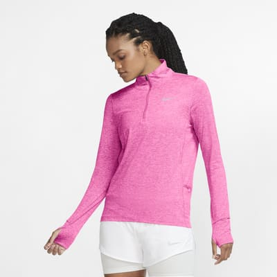 Женская беговая футболка с молнией на половину длины Nike