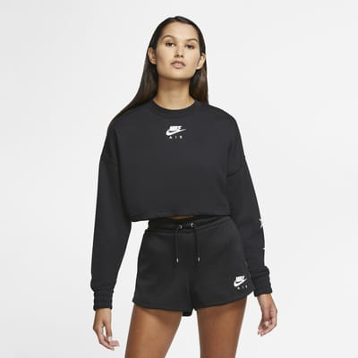 Nike Air Korte fleecetop met ronde hals voor dames