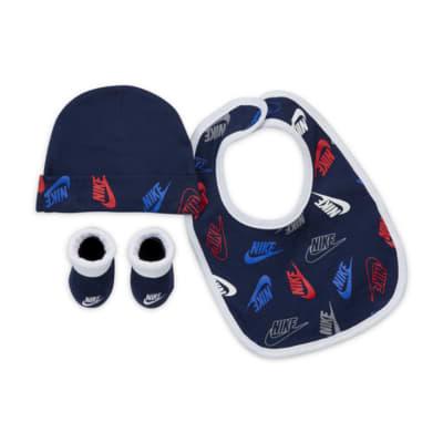 Nike Baby (0-6M) Hat, Bib and Booties Box Set
