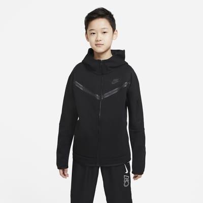 Nike Sportswear Tech Fleece-hættetrøje med lynlås til store børn (drenge)
