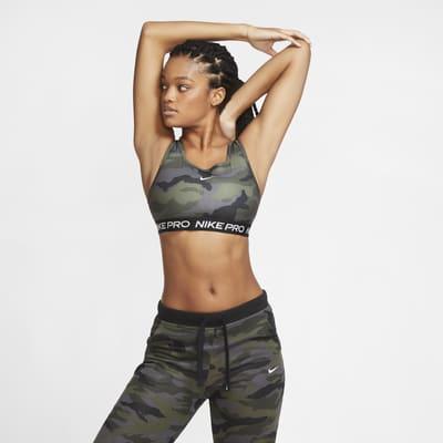 Sujetador deportivo con camuflaje y almohadilla de una sola pieza de sujeción media para mujer Nike Pro Swoosh