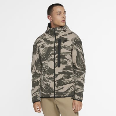 Ανδρική μπλούζα με κουκούλα, φερμουάρ και μοτίβο παραλλαγής Nike Sportswear Tech Fleece