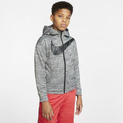 Bluza treningowa z kapturem i zamkiem na całej długości dla dużych dzieci (chłopców) Nike Therma
