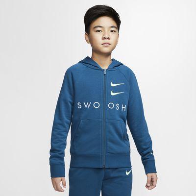 Huvtröja Nike Sportswear Swoosh i frotté med hel dragkedja för ungdom (killar)