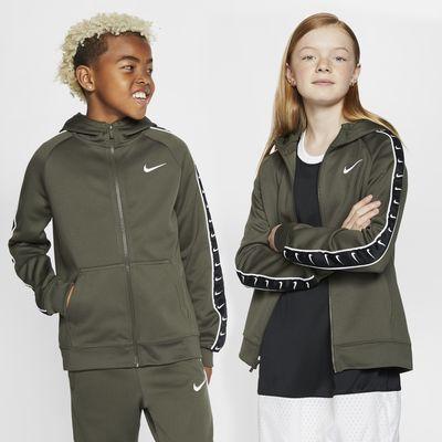 Sudadera con capucha de cierre completo para niños talla grande Nike Sportswear Swoosh