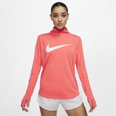 Nike-løbeoverdel med lynlås i kvart længde til kvinder