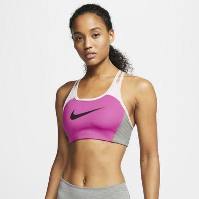 Sport-BH med mediumstöd och färgblock Nike Swoosh för kvinnor