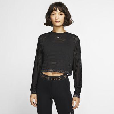 Nike Pro Mesh 女子长袖短款训练上衣