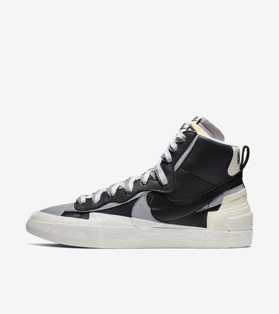 sacai x Nike Blazer Mid 'Black/Wolf Grey' Release Date