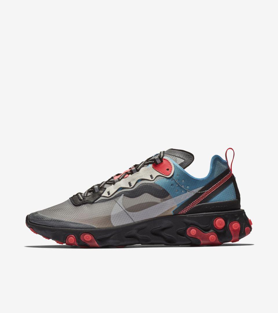 Nike React Element 87 'Solar Red and Black and Blue Chill' Release ...