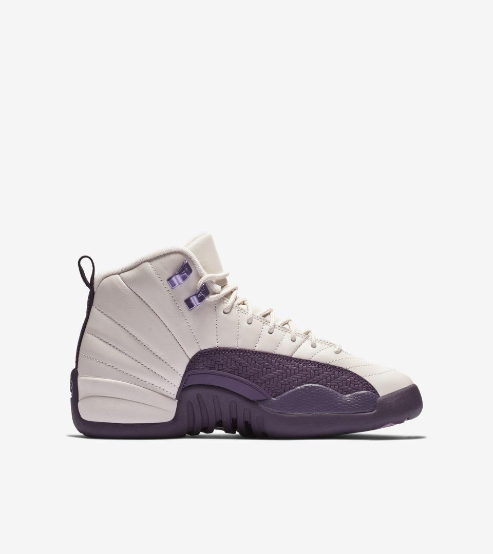 Big Kids' Air Jordan 12 Retro 'Desert Sand & Pro Purple & Light ...