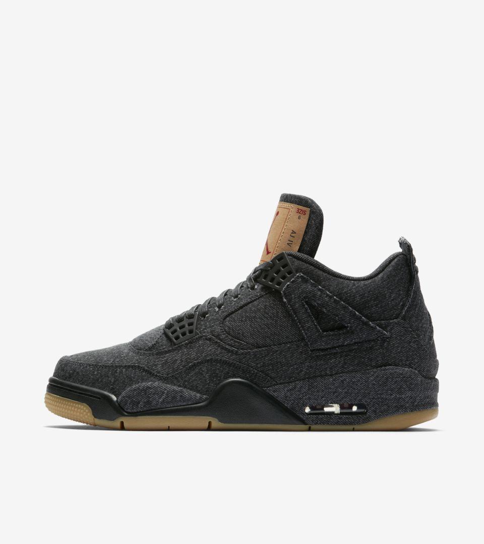 Air Jordan 4 Levi's 'Triple Black' Release Date. Nike SNKRS GB