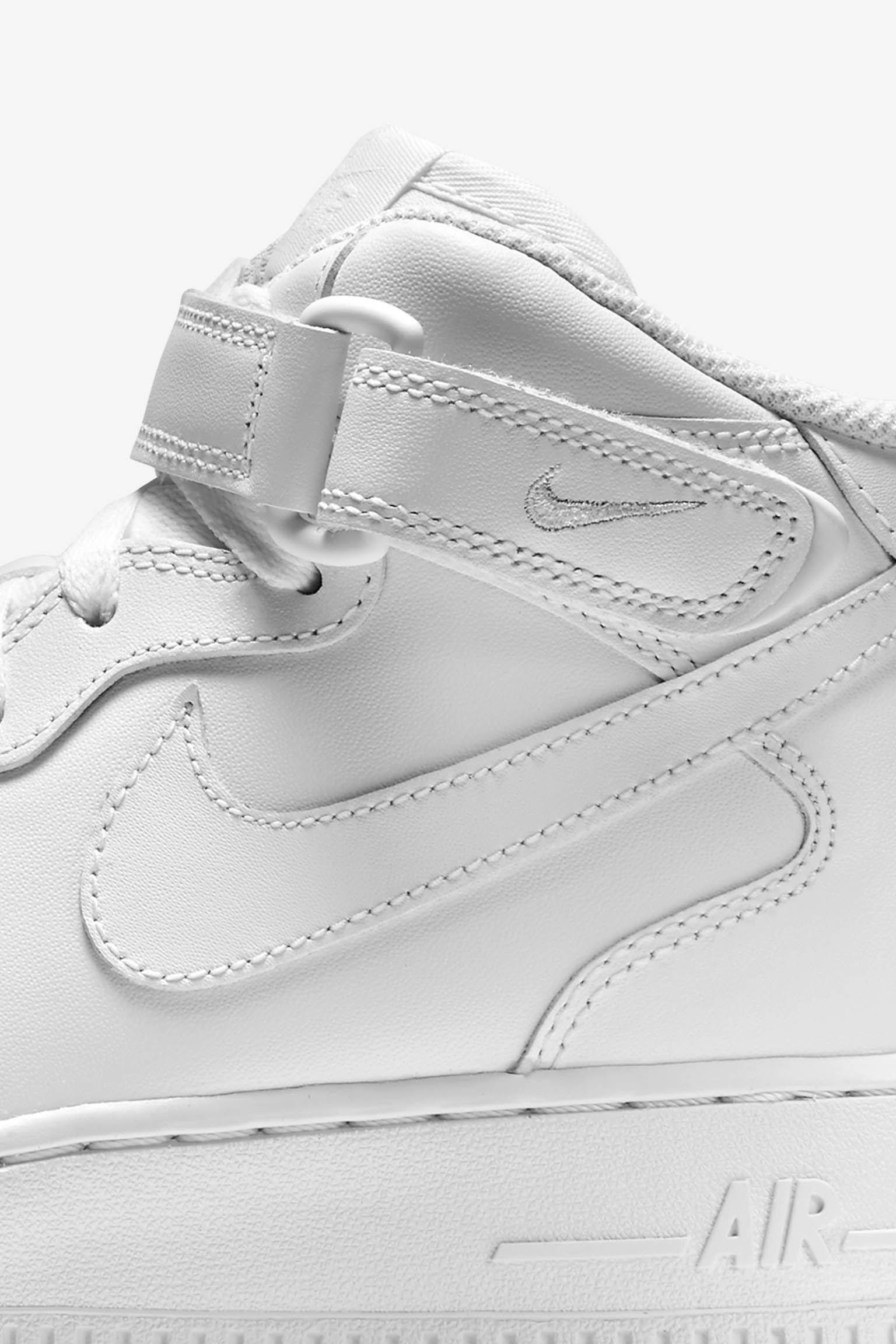 Women's Nike Air Force 1 Mid 'Triple White'. Nike SNKRS