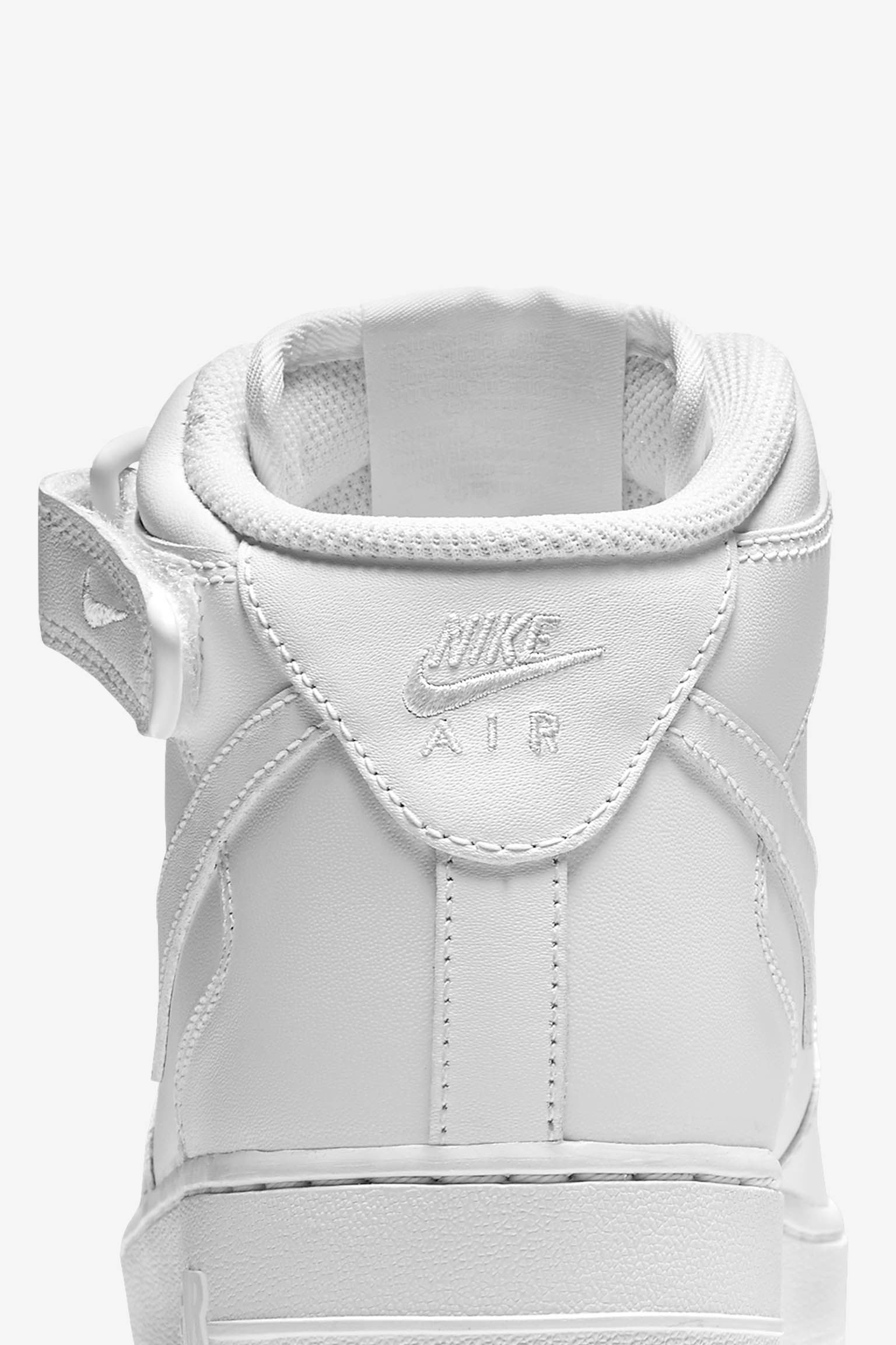 Women's Nike Air Force 1 Mid 07 Leather 'Triple White'. Nike SNKRS