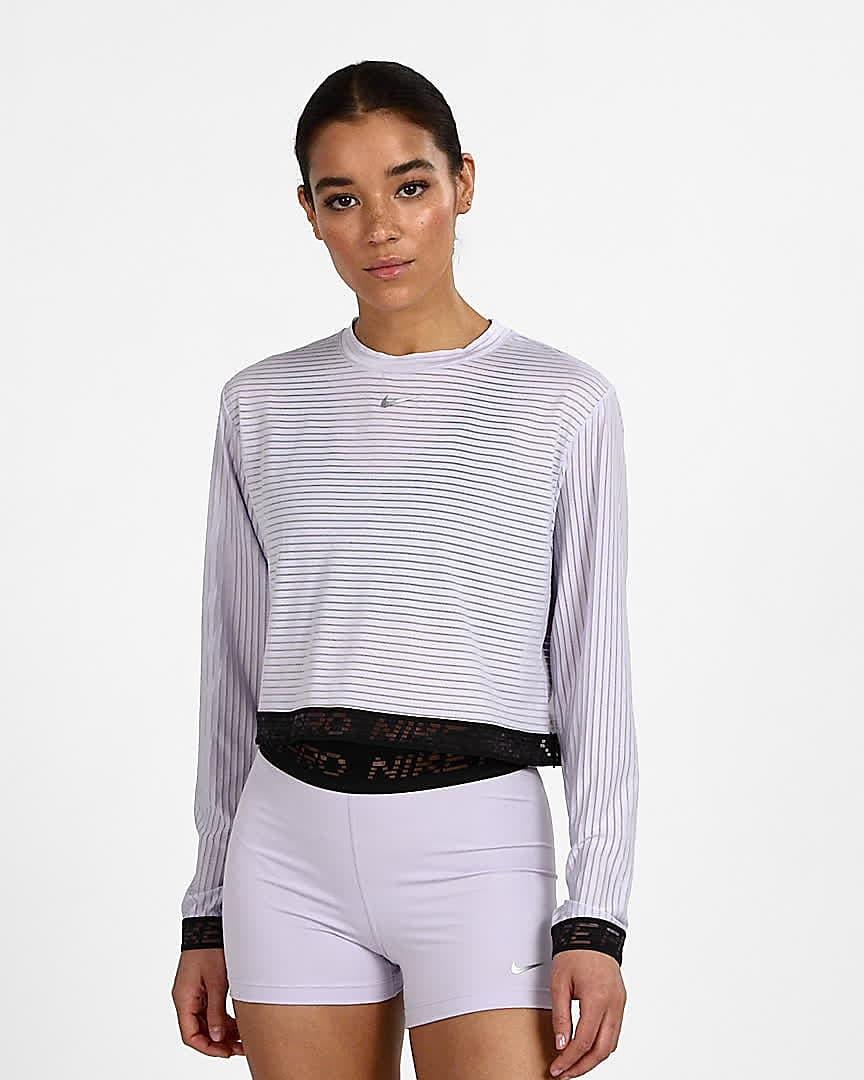 Long-Sleeve Mesh Crop Top. Nike LU