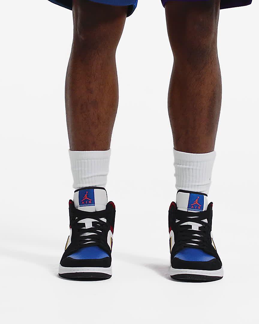 Air Jordan 1 Mid Top 3 On Feet Sneaker